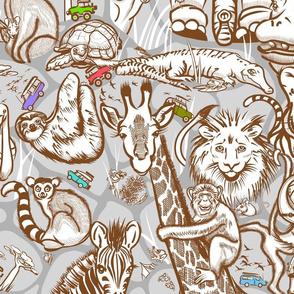 Line Art Safari Small | Medium Brown + Gray