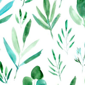 Watercolor urban jungle ★ large scale leaves pattern for modern scandi minimal natural home decor, bedding, nursery