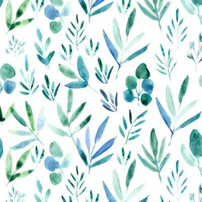 Watercolor urban jungle - emerald leaves for modern home decor, bedding, nursery