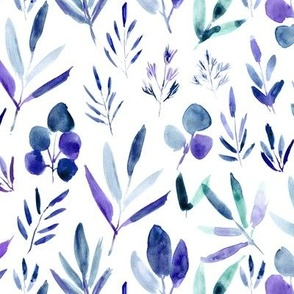Watercolor urban jungle in indigo, blue, purple - painted leaves for modern home decor 269