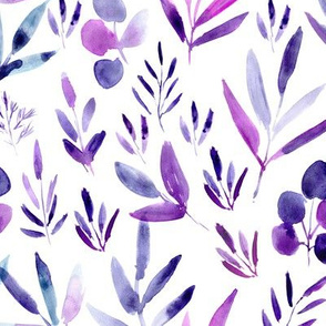 Amethyst urban jungle - watercolor purple and indigo leaves