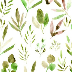 Watercolor urban jungle in green and earthy colors - painted tropical leaves for modern home decor, bedding, nursery
