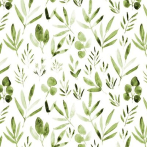 Khaki urban jungle - watercolor olive green leaves p269