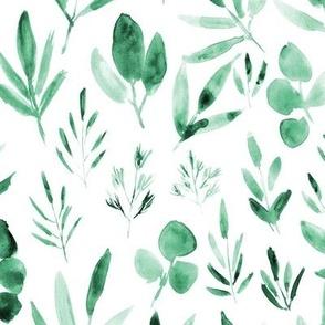 Jade green urban jungle - watercolor leaves p269