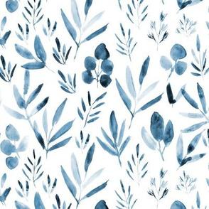 Denim blue urban jungle - watercolor leaves