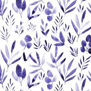 Amethyst urban jungle - watercolor purple leaves p269