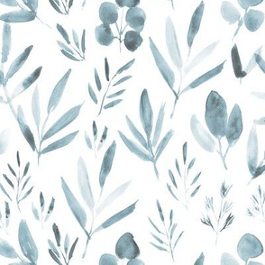 Soft blue urban jungle ★ watercolor leaves for modern scandi minimal home decor, bedding, nursery