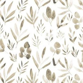 Earthy boho soft urban jungle - watercolor beige leaves