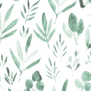 Menthe urban jungle ★ watercolor leaves for modern green home decor, bedding, nursery