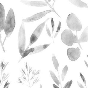 Noir urban jungle - large scale watercolor leaves p269
