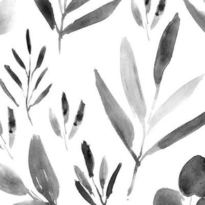 Noir urban jungle ★ watercolor black and white leaves for modern scandi home decor, bedding, nursery