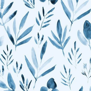 Blue urban jungle - watercolor tropic leaves for modern home decor, bedding, nursery