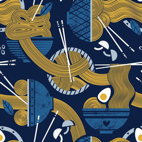 Normal scale // Noodles connection // midnight blue background light classic blue bowls yellow pasta