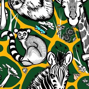 Line Art Safari Adventure Wallpaper | Dark Green + Deep Yellow