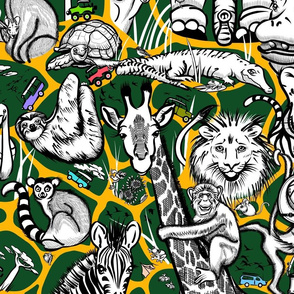 Line Art Safari Adventure Small | Dark Green + Deep Yellow