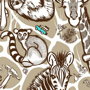 Line Art Safari Wallpaper Large | Dk Brown+Tan+White
