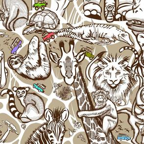 Line Art Safari Small | Dk Brown+Tan+White