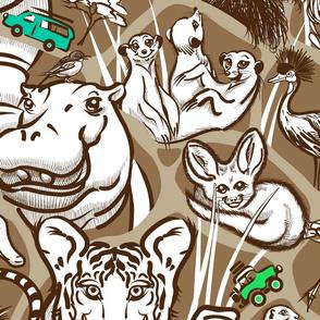 Line Art Safari Wallpaper Large | Brown