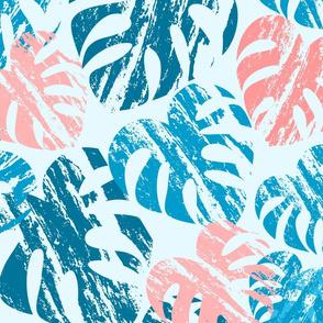 Monstera Leaves Blue Large