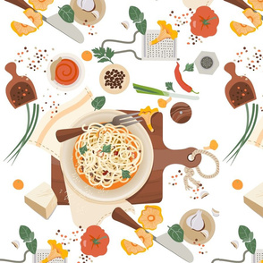 Spaghetti plate and fresh ingredients