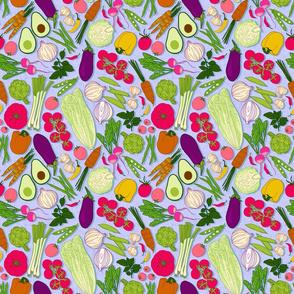 farmers market veggies - periwinkle