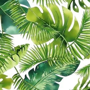 Lush Green Monstera And Palm Leaf Pattern