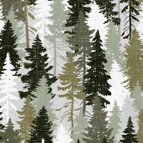 Pine Tree Camouflage / Olive Khaki Grey White Linen Texture Camo Woodland Fabric Wallpaper