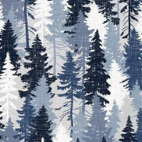 Pine Tree Camouflage / Blue Grey White Linen Texture Camo Woodland Fabric Wallpaper