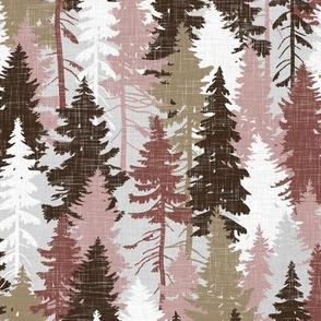 Pine Tree Camouflage / Blush Grey White Linen Texture Camo Woodland Fabric Wallpaper