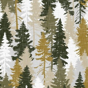 Pine Tree Camouflage / Mustard Olive Grey White Linen Texture Camo Woodland Fabric Wallpaper