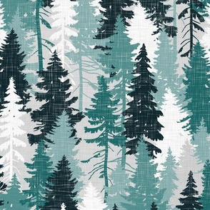 Pine Tree Camouflage / Teal Grey White Linen Texture Camo Woodland Fabric Wallpaper