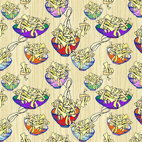 Bowls of Wide Egg Noodles on Linguine