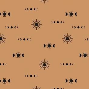 Full moon phase and sun boho universe constellation love sky coffee moka brown