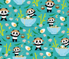 pandas and noodles - teal