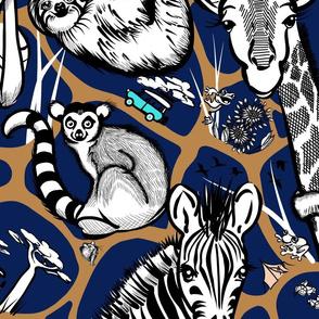 Kids Safari Adventure Wallpaper Large | Deep Navy + Deep Tan + Black