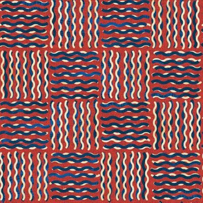 Noodle Weave - Red and Blue