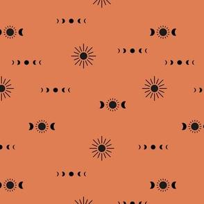 Full moon phase and sun boho universe constellation love sky sunset orange