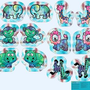 """1Yard Cut & Sew Tie-Dye Critters 10"""" Tie-Dye BG by Shari Lynn's Stitches"""