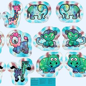 """1 Yard Cut & Sew Tie-Dye Critters 11"""" Tie-Dye BG by Shari Lynn's Stitches"""