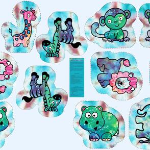 """1 Yard Cut & Sew Tie-Dye Critters 12"""" Tie-Dye BG by Shari Lynn's Stitches"""