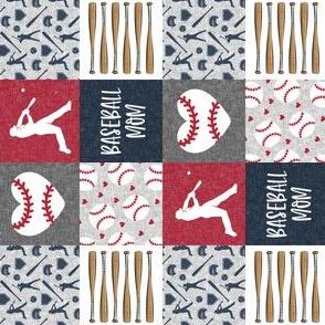 "(1 1/2"" scale) Baseball mom - heart baseball - red and blue (90)- LAD20"