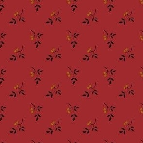 berry sprig red and gold 2042-16