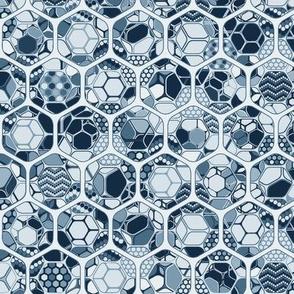 Indigo hexagons inside out, vertical medium scale