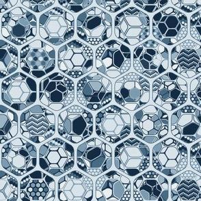 Indigo hexagons inside out, vertical blue medium scale