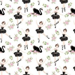 little ballerina girls with black  swan
