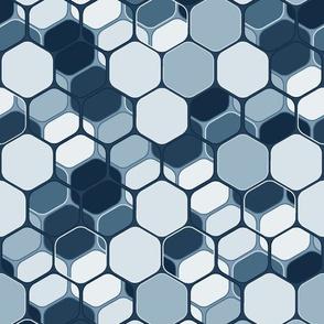 Indigo layered hexagons, vertical large scale