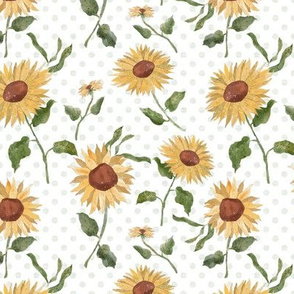Sunflower Field with Polka Dots - smaller repeat