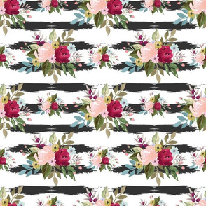 watercolor flowers Strips background