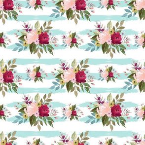 watercolor flowers blue  Strips background