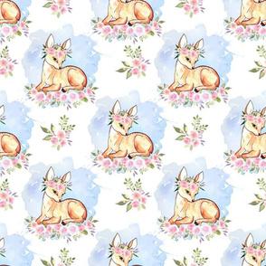 Baby Deer with flower blue watercolor splash  background